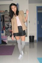 brown blazer - pink top - black shorts - silver socks - white shoes
