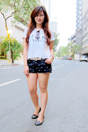 black polka dots Zara shorts - eggshell heart Forever 21 belt