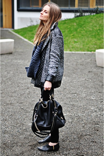 gray Mango jacket - black leather studded H&M boots