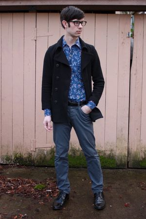 black Old Navy jacket - blue thrifted shirt - black thrifted belt - gray H&M pan