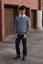 black H&M hat - white Urban Outfitters shirt - black thirfted tie - gray Urban O