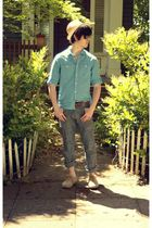 brown Urban Outfitters belt - beige H&M hat - beige Urban Outfitters shoes - blu