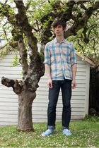 blue Urban Outfitters shirt - blue H&M jeans - blue Urban Outfitters shoes