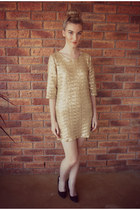 gold sequins Jayde Hayes Designs dress - black faux suede asos heels