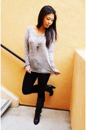silver Forever 21 sweater - black Madden Girl boots - black H&M leggings