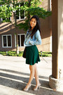 Dark-green-forever-21-dress-periwinkle-denim-jacket-forever-21-jacket