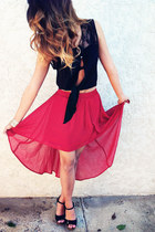 red Forever21 skirt - black shirt - black wedges