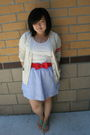 Beige-gap-cardigan-red-h-m-belt-beige-forever-21-top-blue-j-crew-skirt-g