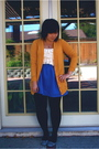 Gold-urban-outfitters-sweater-white-urban-outfitters-shirt-blue-urban-outfit