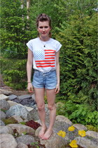 red american cotton Topshop shirt - light blue denim cutoffs Levis shorts - ligh