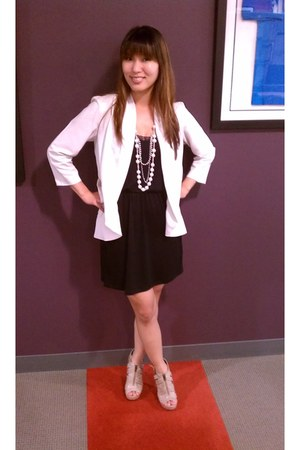 TJ Maxx dress - Urban Outfitters blazer - Aldo Shoes wedges - Macys Necklace nec