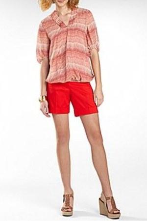 red cuffed sateen Worthington shorts - white Worthington blouse
