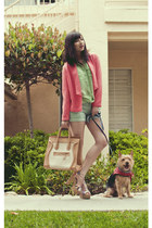 green JCPenney necklace - tan Jellypop shoes - coral MNG by Mango blazer
