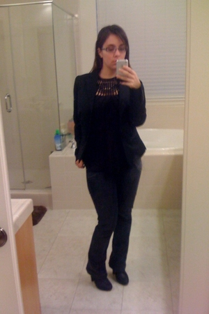 black Sheychelles boots - blue Antik jeans - black banana republic shirt - black