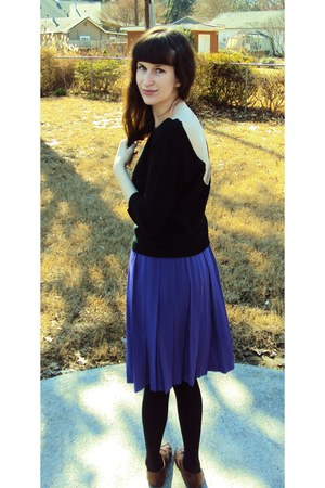 black Urban Outiffters sweater - purple thrifted skirt - dark brown Target flats
