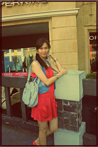 pink dress - periwinkle bag - blue vest