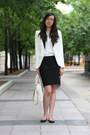 White-tuxedo-h-m-blazer-off-white-michael-kors-bag-black-zara-skirt