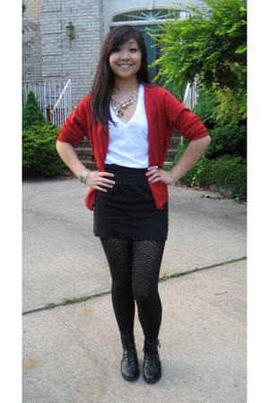 red vintage cardigan - gold Forever 21 necklace - black Target stockings - black