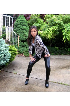 black boots - black leather leggings - eggshell leopard blazer - white intimate