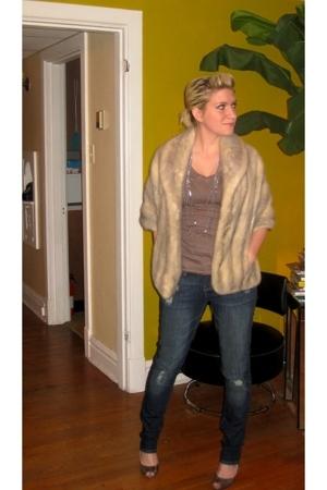 vintage coat - forever 21 shirt - American Eagle jeans