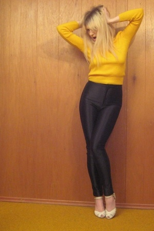 yellow vintage sweater - white strappy vintage shoes - black disco aa pants