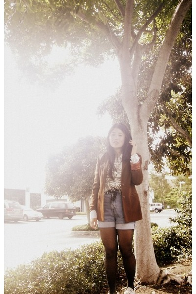 brick red thrifted blazer - off white vintage sweater - dark gray HUE tights