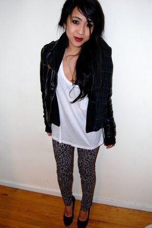 gray Forever 21 pants - black leather jacket - black Yves St Laurent shoes - whi