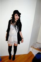 white LF dress - black H&M cardigan - black H&M socks - black brixton hat