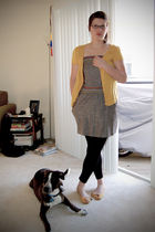 gold Target cardigan - gray modcloth dress - gold Gap shoes - black Forever 21 l
