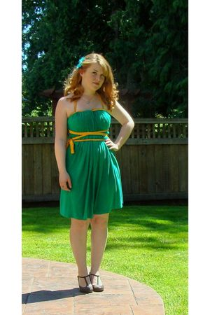 green American Apparel dress - brown payless shoes - silver Claires accessories