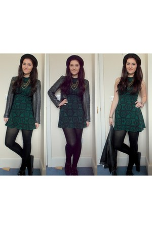 dark green Topshop dress