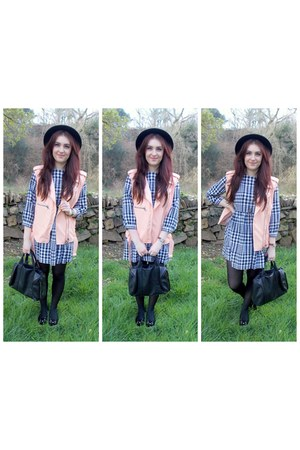 black Topshop dress - peach THE WHITEPEPPER jacket