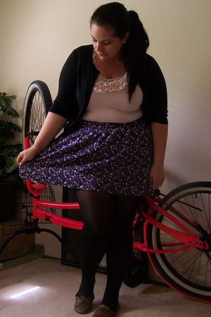 purple torrid skirt - pink H&amp;M top - black Target tights - brown Target shoes - 