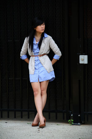 blue H&amp;M dress - beige H&amp;M cardigan - brown Forever 21 belt - brown Seychells sh