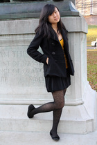 yellow Forever 21 sweater - black American Rag coat - black Daffys dress - black