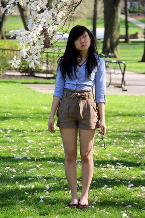 blue H&M dress - brown H&M shorts - brown Target shoes - silver simply vera wang