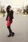 Black-urban-outfitters-blazer-black-dkny-tights-maroon-vintage-skirt