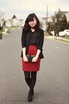 maroon vintage skirt - black Urban Outfitters blazer - black DKNY tights
