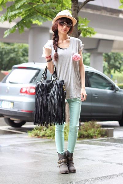 heather gray boots - silver shirt - aquamarine pants - peach accessories