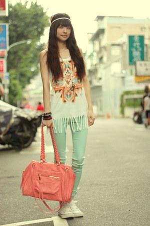 light blue pants - bubble gum bag