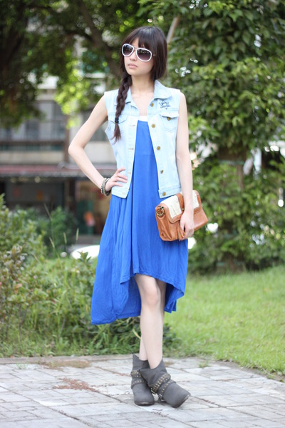 sky blue vest - heather gray boots - blue dress