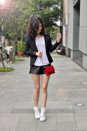 red Chanel bag - black blazer