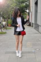 red Chanel bag - black blazer