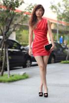 red herve leger dress - black Miu Miu bag
