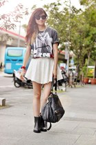 black boots - charcoal gray shirt - off white skirt