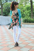 aquamarine top - black top - salmon top - white pants