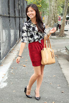 black A Beautiful Heart bracelet - ruby red Forever 21 dress - camel coach bag