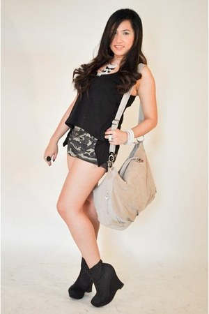 black JUZ FUR K top - JUZ FUR K shorts - JUZ FUR K - black Forever 21 shoes - Al
