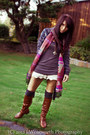 Tawny-knee-highs-charlotte-russe-boots-roxy-sweater-forever-21-scarf