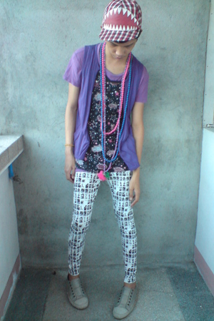 purple top - blue accessories - red F&H hat - white korean store leggings - silv
